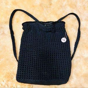 THE SAK black crocheted knit drawstring backpack